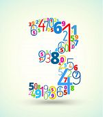 Number 3, colored vector font from numbers