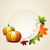 Happy Thanksgiving Day celebration concept with pumpkin, autumn leaves decorated and space for your