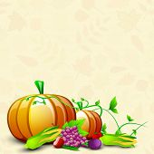 Happy Thanksgiving Day celebration concept with fruits and vegetables on seamless autumn leaves background, can be use as flyer, banner or poster.