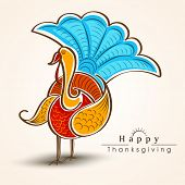 Happy Thanksgiving Day celebration concept with beautiful turkey bird on abstract background, can be use as flyer, banner or poster.