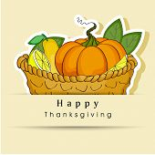 Happy Thanksgiving Day concept with wooden basket full of fruits and vegetables on abstract background, can be use as flyer, banner or poster.