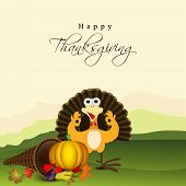 Happy Thanksgiving Day celebration concept with happy turkey bird, pumpkin and fruits on nature background, can be use as flyer, banner or poster.