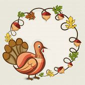 Happy Thanksgiving Day concept with turkey bird and autumn leaves decorated rounded frame.