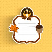 Happy Thanksgiving Day greeting or invitation card with maple leave, turkey bird and space for your message on abstract yellow background.