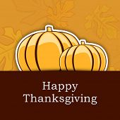 Vintage Happy Thanksgiving Day background with pumpkin on yellow and brown background.