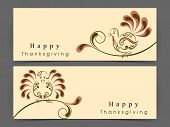 Happy Thanksgiving Day website header or banner set with floral decorated turkey bird on abstract background.