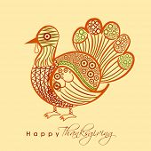 Beautiful floral decorated shiny turkey bird on grey background, Happy Thanksgiving Day celebration concept.