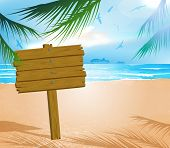 stock photo of idealistic  - Wooden signboard on idealistic tropical beach - JPG