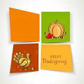 Happy Thanksgiving Day celebration concept with pumpkins and turkey bird on colorful background.