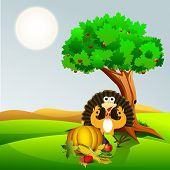 Happy Thanksgiving Day concept with fruits, vegetables and turkey bird under the green tree on nature background.