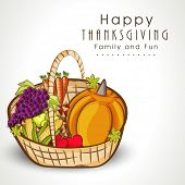 Happy Thanksgiving Day celebration concept with fruits and vegetables on grey background, can be use as flyer, banner or poster.