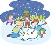 Three little boys and girl are making a snow man isolated on white background