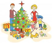 Happy family mother, father, boy, girl, baby boy and dog dressing up the christmas tree isolated on