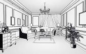 sketch style classic interior illustration