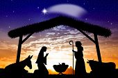 stock photo of oxen  - an illustration of Nativity scene at sunset - JPG