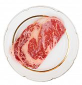 picture of wagyu  - Premium quality kobe beef ribeye steak in plate isolated on white with clipping path - JPG