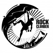 Rock climber at sunset. Vector illustration in the engraving style