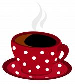 Red Spotted Cup Of Coffee