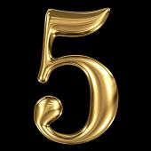 Golden shining metallic 3D symbol number five 5 isolated on black