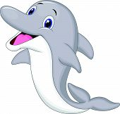 image of razorback  - Vector illustration of Cute dolphin cartoon isolated on white background - JPG