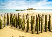 Saint Malo Fort National And Poles, Low Tide. Brittany, France.