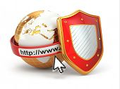 Internet security. Earth, browser address line and shield. 3d