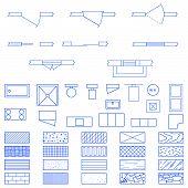 Blaupause-Symbole, die von Architekten verwendet