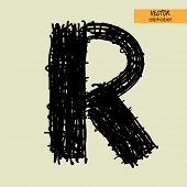 art sketched stylization alphabet in vector, black grungy ink font, sign R