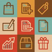 Shopping web icons, vintage series