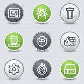 Internet security web icons, circle buttons