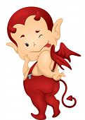 image of coy  - Illustration of a Little Devil Playing Coy While Sticking His Tongue Out - JPG