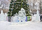 Ice Sculptures Near Christmas Tree, Moscow