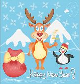 New Year Holiday Greeting Card With Deer And Penguin Cute Cartoon Characters With Snowflakes And Pre