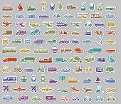 stock photo of ski boat  - 104 Transport icons set retro stickers - JPG