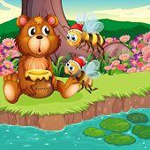 Illustration of a big bear and bees at the riverbank