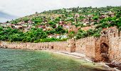 View Of The Kizil Kule (red Tower) Is A Historical Tower In The Turkish City Of Alanya.
