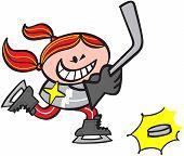Cool girl playing ice hockey
