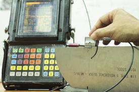 image of ultrasonic  - Calibration Standard Probe Of Ultrasonic Test in Laboratory - JPG