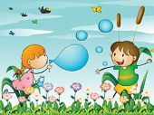 foto of playmate  - Illustration of the kids at the garden playing with the blowing bubbles - JPG