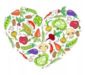 Heart from vegetables on white