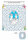 foto of game-fish  - Maze game and coloring activity page for kids - JPG