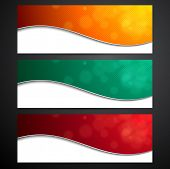 Paper wavy blank colorful banners. Vector illustration.
