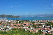 FETHIYE, TURKEY - APRIL 1, 2014: View to the bay from the castle. Dozens boat tours to 12 islands of