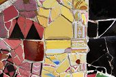 foto of gaudi barcelona  - Close up photo of Gaudi mosaic bench at the park Guell - JPG