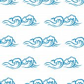 Seamless pattern of cresting ocean waves