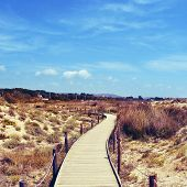 boardwalk in Els Muntanyans natural park in Torredembarra, Spain, with a retro effect