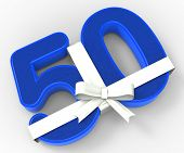 Number Fifty With Ribbon Shows Fiftieth Birthday Celebration Or