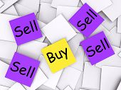 Buy Sell Post-it Notes Show Trade And Commerce