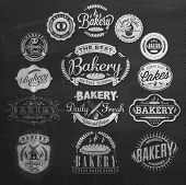 Vintage Retro Bakery Badges And Labels On Chalkboard