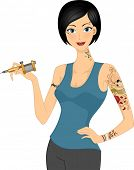 Illustration of a Female Tattoo Artist Holding a Tattoo Machine